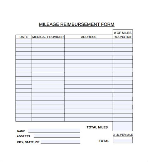 sample mileage reimbursement form
