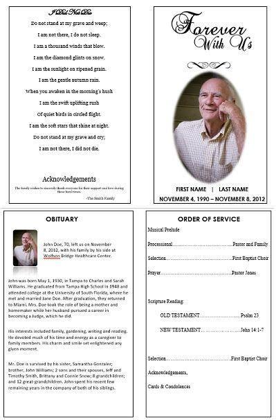 monica funeral program template