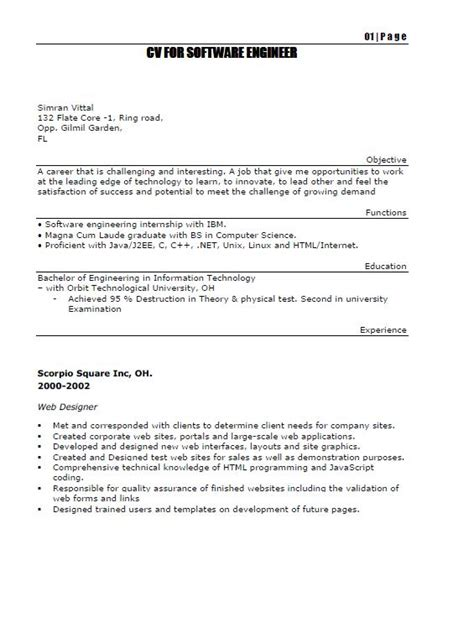 resume for fresh engineers fresh and free resume sles for resumes for software engineers