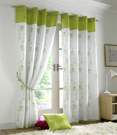 Lime Green Curtains by Lime Green White Floral Trail Lined Voile Ring Top