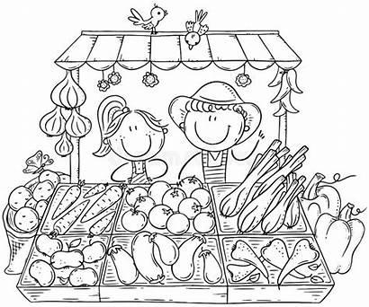 Market Coloring Selling Farmers Vegetables Organic Vendono