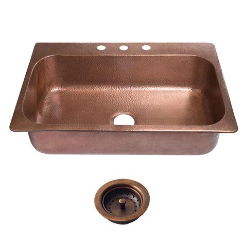 copper kitchen sink faucets sinkology angelico drop in copper sink 33 in 3