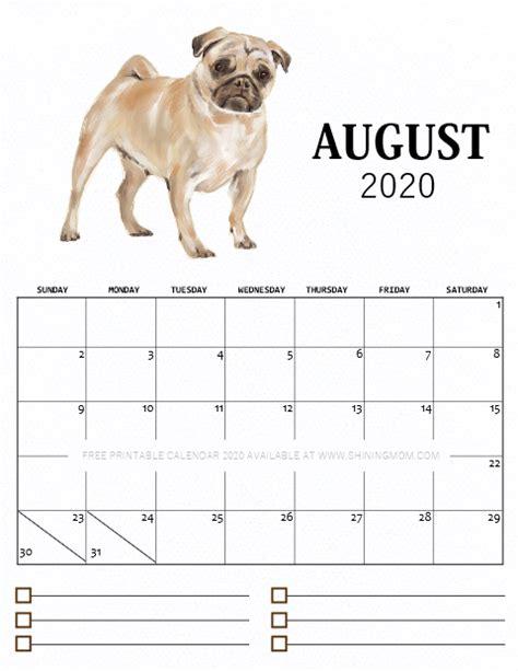 printable monthly calendar   cute dog theme