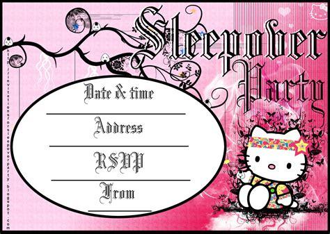 INVITATIONS TO SLEEPOVER PARTY HELLO KITTY