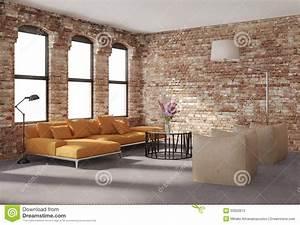 Mur En Brique Intérieur : int rieur l gant contemporain de grenier murs de briques sofa orange photos stock image ~ Melissatoandfro.com Idées de Décoration