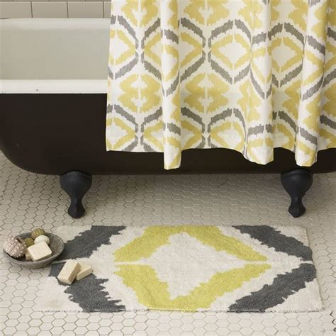 yellow gray bathroom rugs shower curtains yellow grey room ornament