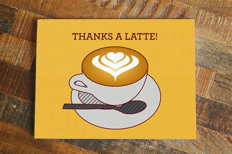 Thank You Card Thanks A Latte Thank You Note Coffee Cups Cartoon Italian Recycling Facts Cuisinart Maker Kijiji In Ounces Clean Light Won't Turn Off Christmas Not Hot Enough