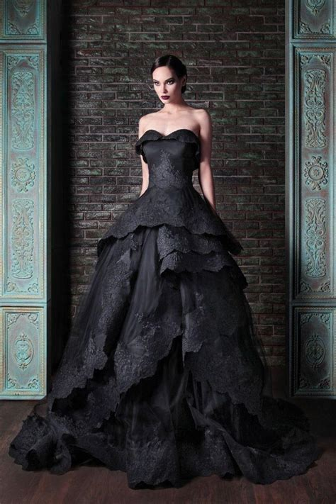 New Gothic Black Wedding Dresses Vintage Sweetheart