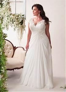 elegant applique chiffon plus size wedding dress lace With plus size flowing wedding dresses