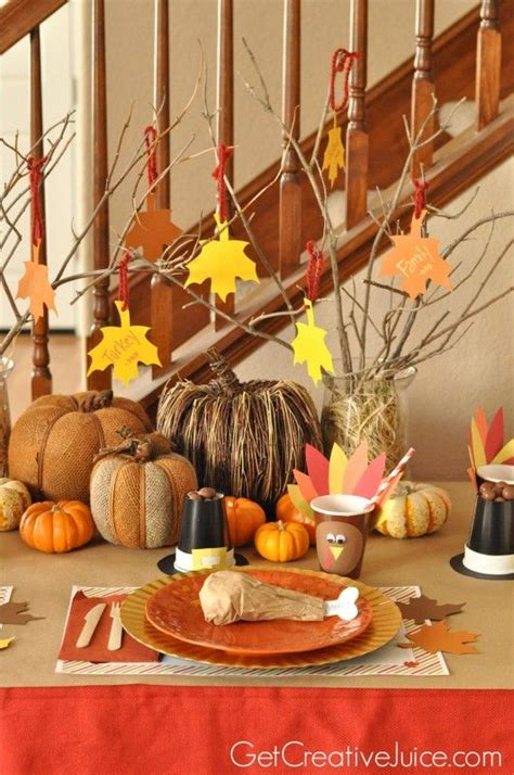 craft decoration ideas easy diy thanksgiving table ideas place settings 1477