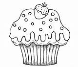 Cupcake Coloring Pages Cute Cupcakes Cake Cartoon Print Cup Drawing Chocolate Muffin Printable Printables Strawberry Food Simple Nice Getdrawings Dipped sketch template