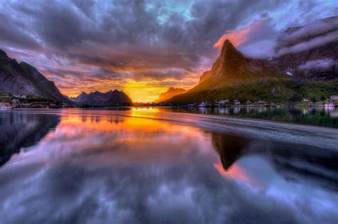nature, Landscape, Mountain, Town, House, Norway, Clouds ...