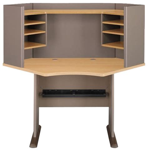 light oak computer desk bush series a 42 quot wood corner computer desk with hutch in