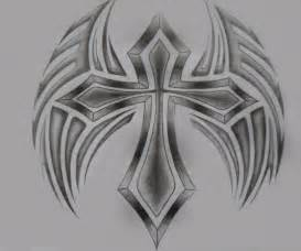 Tribal Cross with Wings Drawings