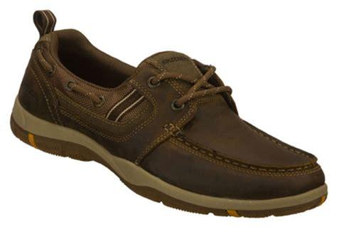 skechers boat shoes mens skechers s leather boat shoes in brown ebay