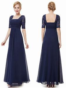 Chiffon floor length half sleeves midnight blue bridesmaid for Midnight blue dress for wedding