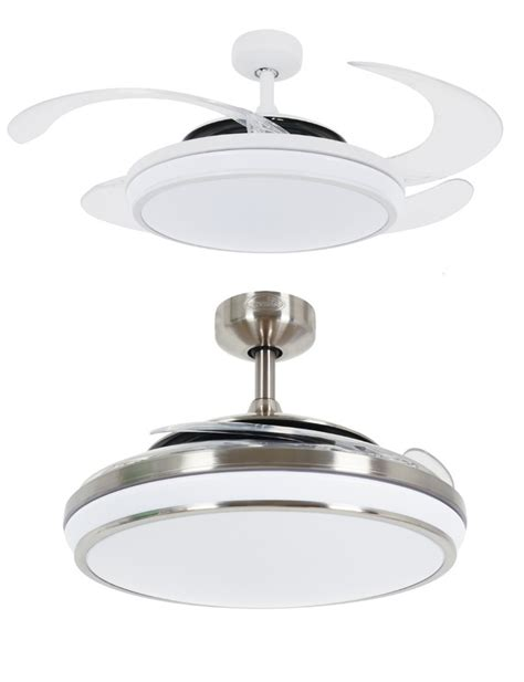 remote ceiling fan with led light fanaway evo 1 led remote folding blade ceiling light fan