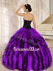 Luxurious Purple and Black Beading Dress for Sweet 16 with ...