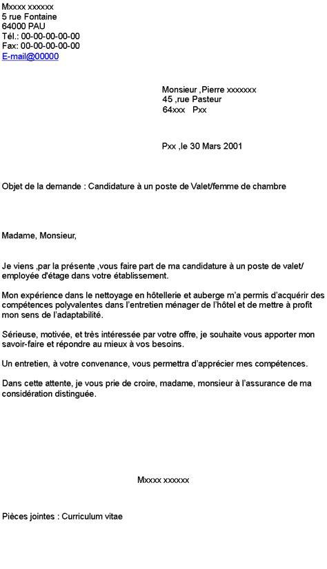 lettre de motivation femme de chambre hotel de luxe lettre de motivation hotellerie candidature spontanée
