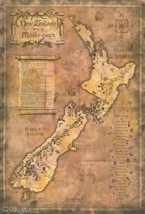 Map Of Middle Earthnew Zealand New Zealand Map Of New