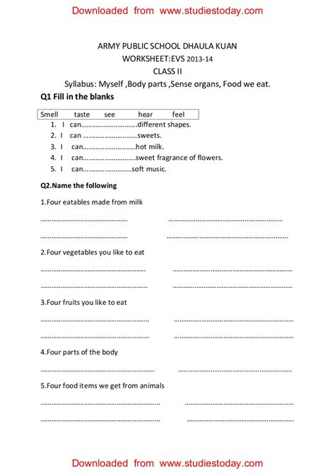 cbse class 2 evs practice worksheets 30 myself parts