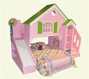 Girls cottage bunk beds with slide ~ lots of neat built