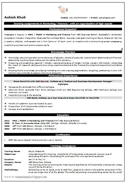 mba finance resume sle experience resumes