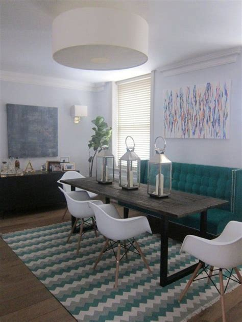 alisons sophisticated  posh london home   narrow dining tables banquette seating