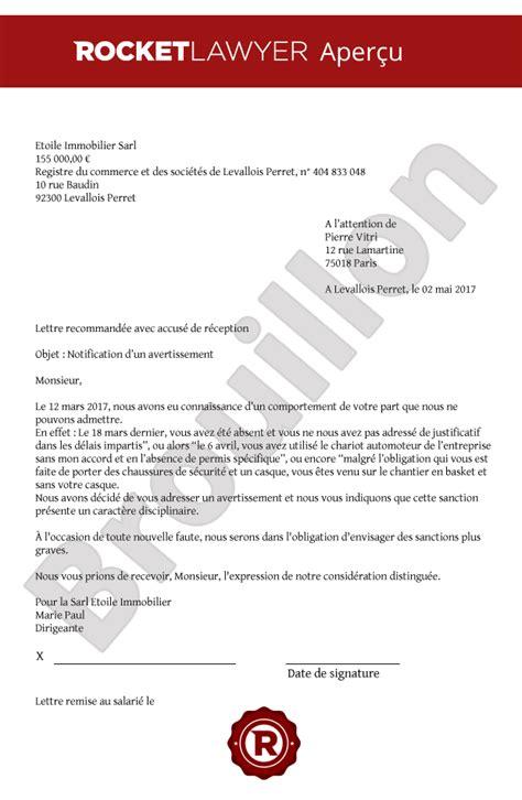modele lettre avertissement absence non justifiée modele de lettre d avertissement pour absence non