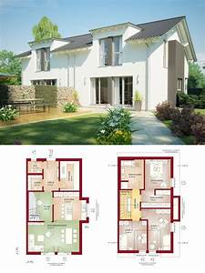Schmale Häuser Grundrisse : doppelhaus architektur mit satteldach im modernen landhausstil grundriss doppelhaush lfte ~ Indierocktalk.com Haus und Dekorationen