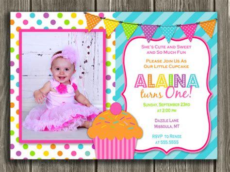 colorful cupcake  birthday photo invitation st