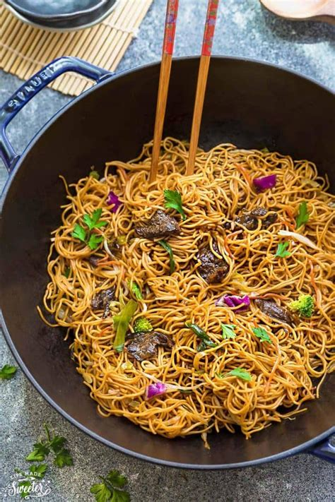 beef chow mein   easy  pot  pan authentic