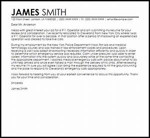 Cover Letter Examples Executive Assistant 911 Operator Cover Letter Sample Livecareer