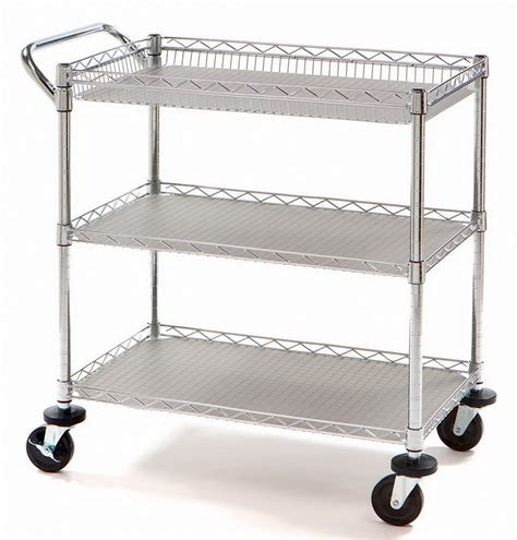 heavy duty rolling metal utility push cart 3 shelf