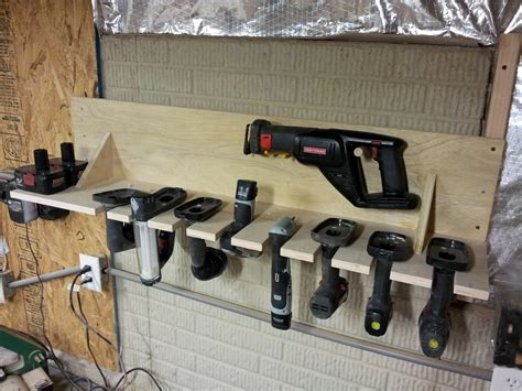 chads workshop cordless tool rack