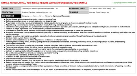 agricultural research technician resume agricultural technician title docs