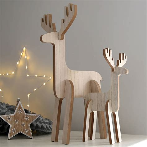 Wooden Decorations - wooden standing reindeer decoration by lilly