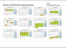Ferien SchleswigHolstein 2018 Ferienkalender zum Ausdrucken