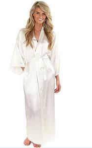 Kimono Long Femme : women silk satin long wedding bride bridesmaid robe kimono ~ Farleysfitness.com Idées de Décoration