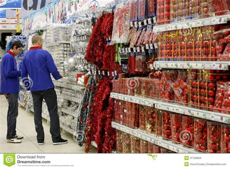 christmas decorations in store editorial stock image