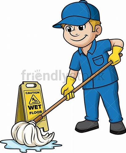 Mopping Floor Clipart Clip Mop Cartoon Vector
