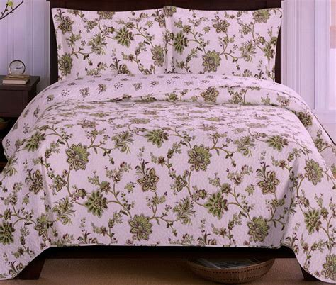 Green Coverlets by Oversized Bedspread Coverlet Reversible Quilted Green