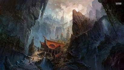 Temple Fantasy Chinese Ancient Wallpapers Mountain Zen