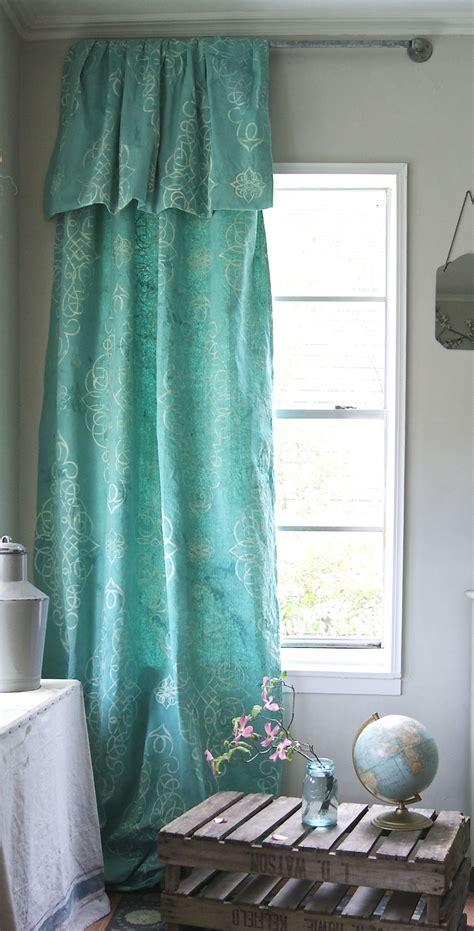 dyed  stenciled drop cloth curtain drop cloth