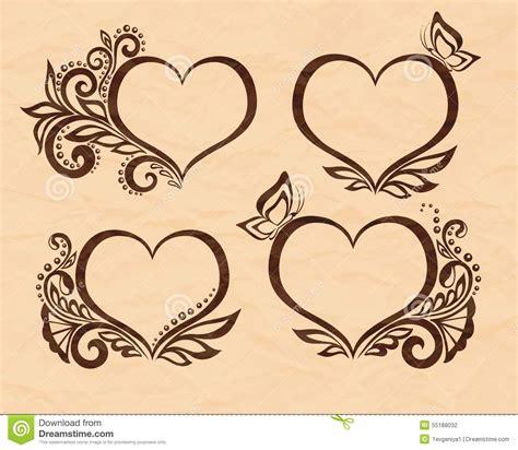 set  beautiful black  white symbol   heart