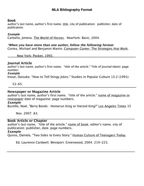 mla citation template how to write a bibliography mlawritings and papers writings and papers