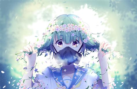 Anime Flower Wallpaper - 3207x2080 anime gas mask flowers