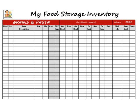 food storage inventory worksheets simply living smart store