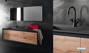 meuble sous vasque en bois iks stocco espace aubade With meuble noir et bois