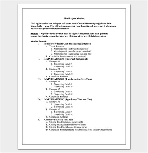 Middle School Resume Project by Essay Outline Blank Form